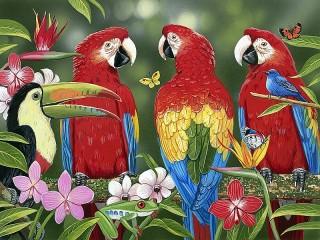 Собирать пазл Попугайчики онлайн