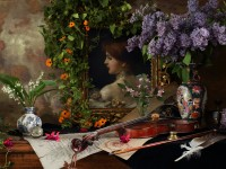 Собирать пазл Портрет и цветы онлайн