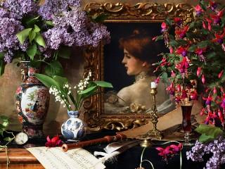 Собирать пазл Портрет в цветах онлайн