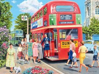 Собирать пазл Посадка в автобус онлайн