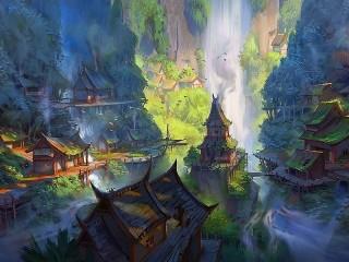 Собирать пазл Поселение у водопада онлайн