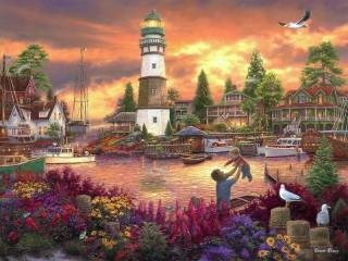 Собирать пазл Поселок у моря онлайн