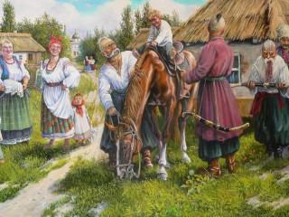 Собирать пазл Посвящение в казаки онлайн