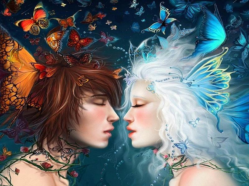 Пазл Собирать пазлы онлайн - Поцелуй бабочки