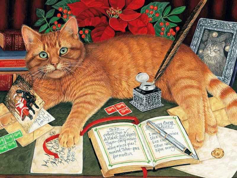 Пазл Собирать пазлы онлайн - Кот и открытки