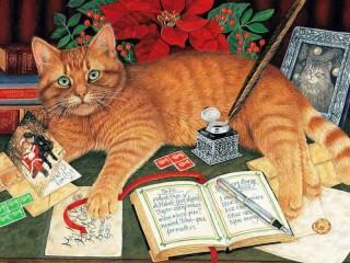 Собирать пазл Кот и открытки онлайн