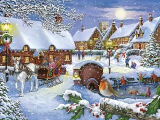 Собирать пазл Праздничная зима онлайн