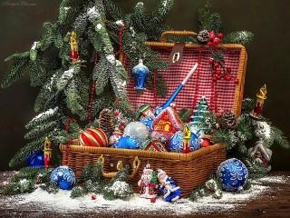 Собирать пазл Праздничный чемодан онлайн