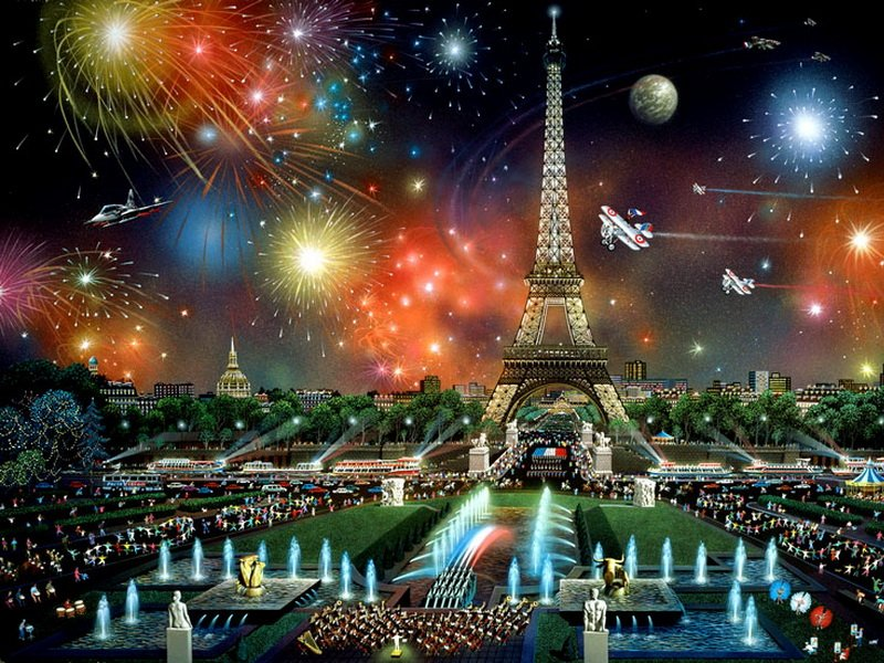 Пазл Собирать пазлы онлайн - Праздник в Париже