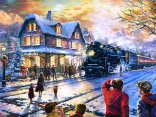 Собирать пазл Прибытие поезда онлайн