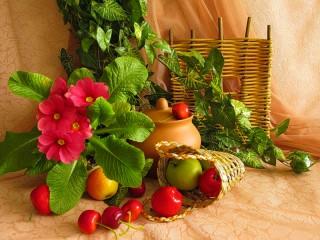 Собирать пазл Примулы и фрукты онлайн