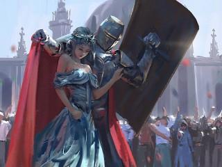 Собирать пазл Принцесса и рыцарь онлайн