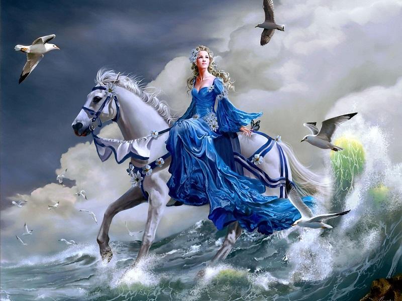 Пазл Собирать пазлы онлайн - Принцесса на лошади