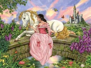 Собирать пазл Принцесса с лошадью онлайн