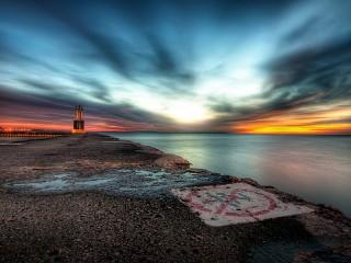 Собирать пазл Пристань на закате онлайн