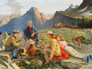 Собирать пазл Привал в горах онлайн