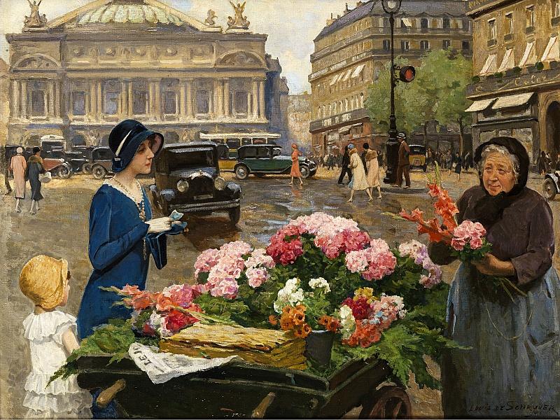 Пазл Собирать пазлы онлайн - Продавщица цветов в Париже