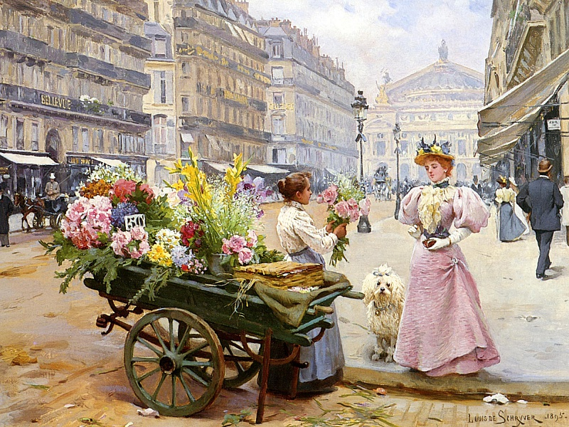Пазл Собирать пазлы онлайн - Продавщица цветов