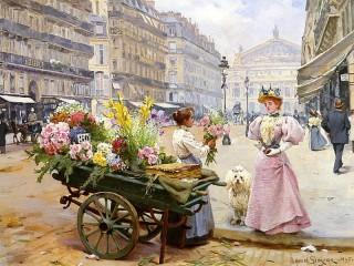 Собирать пазл Продавщица цветов онлайн