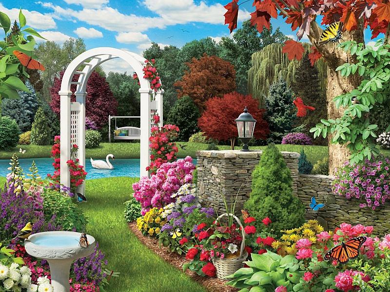 Пазл Собирать пазлы онлайн - Пруд в саду