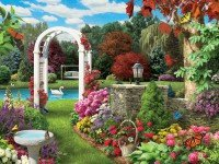 Собирать пазл Пруд в саду онлайн