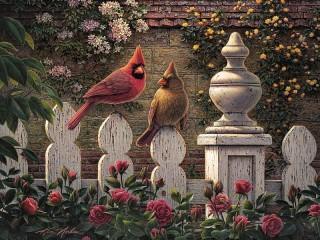 Собирать пазл Птички на заборе онлайн