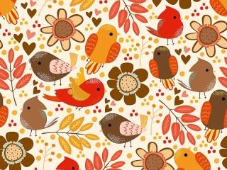 Собирать пазл Птички в цветочках онлайн
