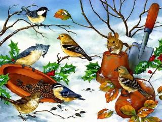 Собирать пазл Птичья столовая онлайн