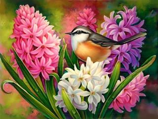 Собирать пазл Птица и гиацинты онлайн