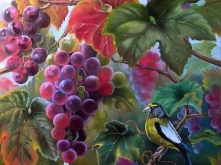 Собирать пазл Птица и виноград онлайн
