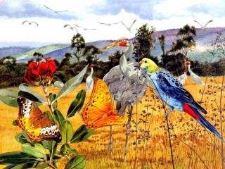 Собирать пазл Птицы и бабочки онлайн
