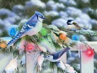 Собирать пазл Птицы и гирлянда онлайн