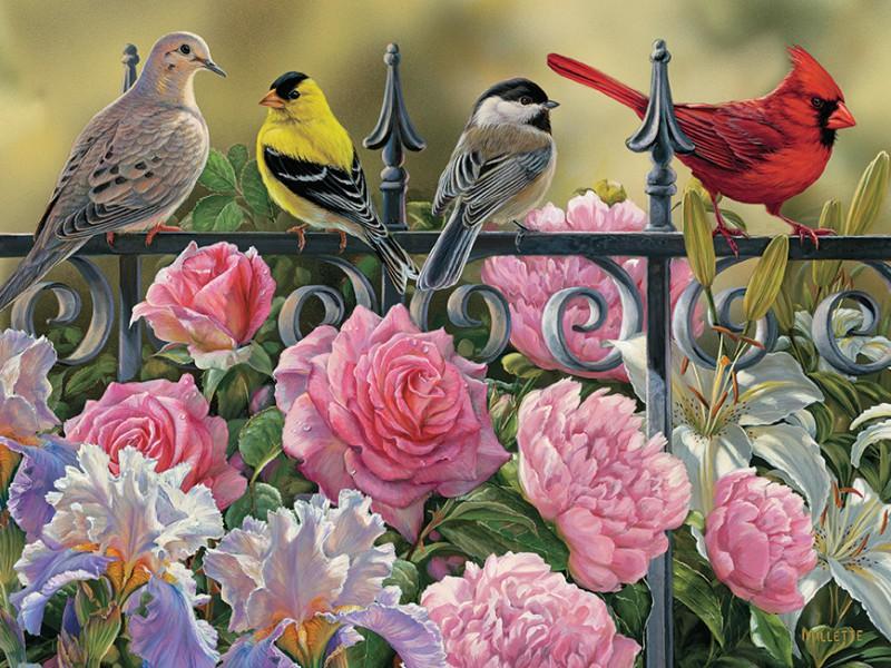 Пазл Собирать пазлы онлайн - Птицы и цветы