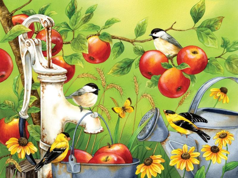 Пазл Собирать пазлы онлайн - Птицы и яблоки