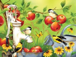 Собирать пазл Птицы и яблоки онлайн
