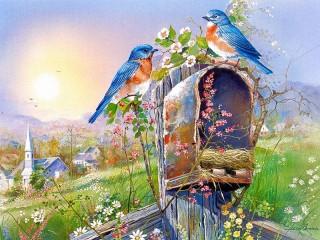 Собирать пазл Птицы на почт ящике онлайн