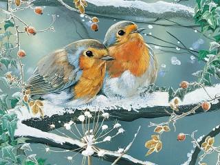Собирать пазл Птицы на ветке онлайн