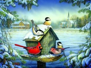 Собирать пазл Птицы зимой онлайн