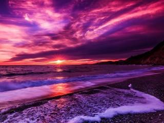 Собирать пазл Purple sunset онлайн