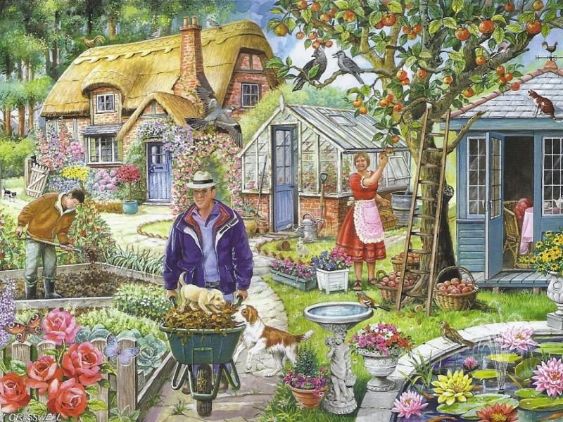 Пазл Собирать пазлы онлайн - Работа в саду