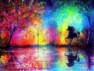 Собирать пазл Радуга и лошадь онлайн