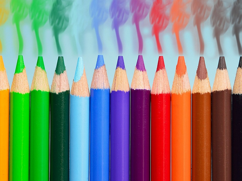 Пазл Собирать пазлы онлайн - Радуга карандашей