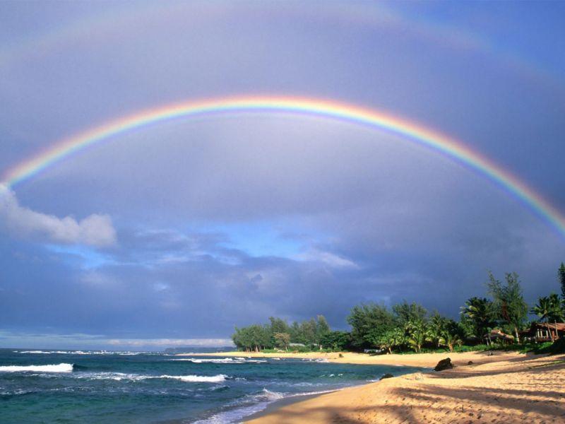 Пазл Собирать пазлы онлайн - Радуга над пляжем
