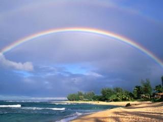 Собирать пазл Радуга над пляжем онлайн
