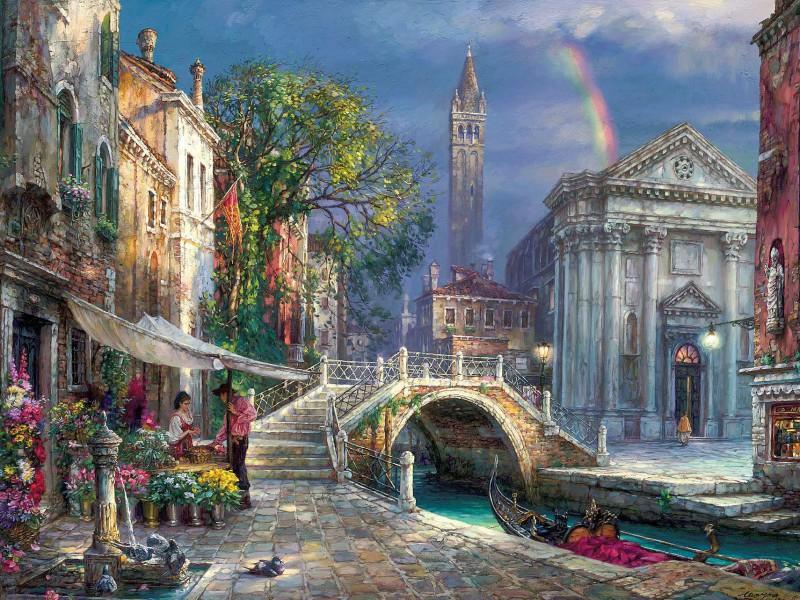 Пазл Собирать пазлы онлайн - Радуга над Венецией