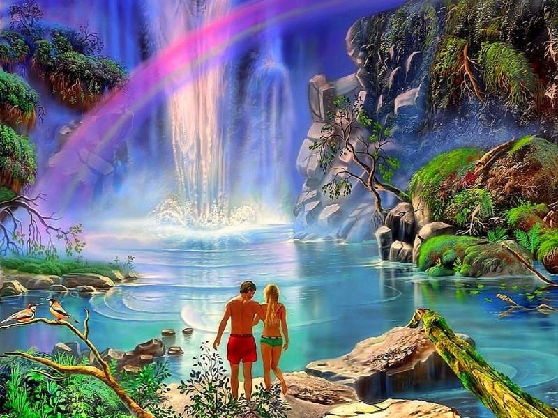 Пазл Собирать пазлы онлайн - Радуга над водопадом