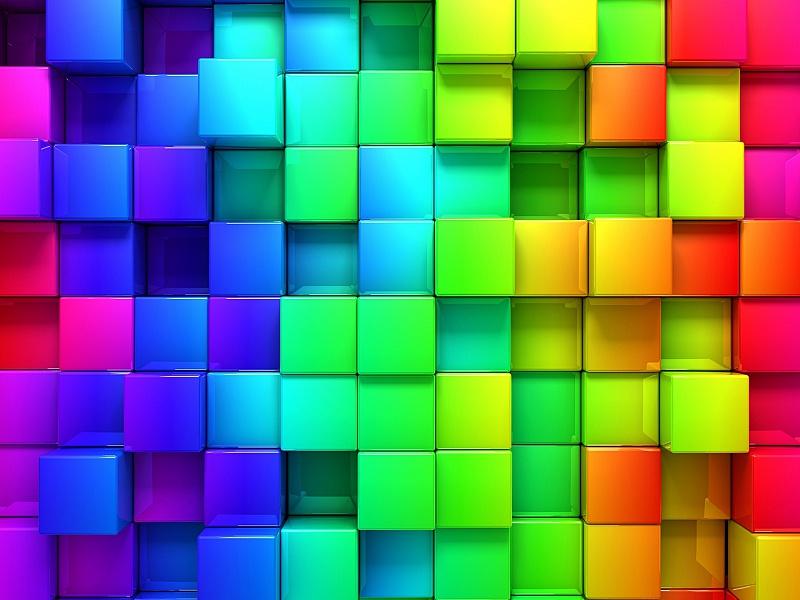 Пазл Собирать пазлы онлайн - Радужные кубики