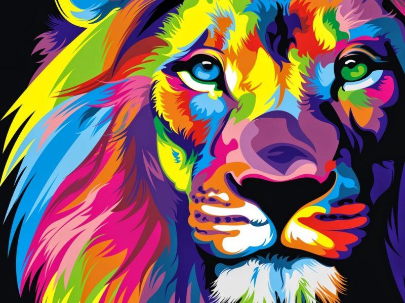 Пазл Собирать пазлы онлайн - Радужный лев