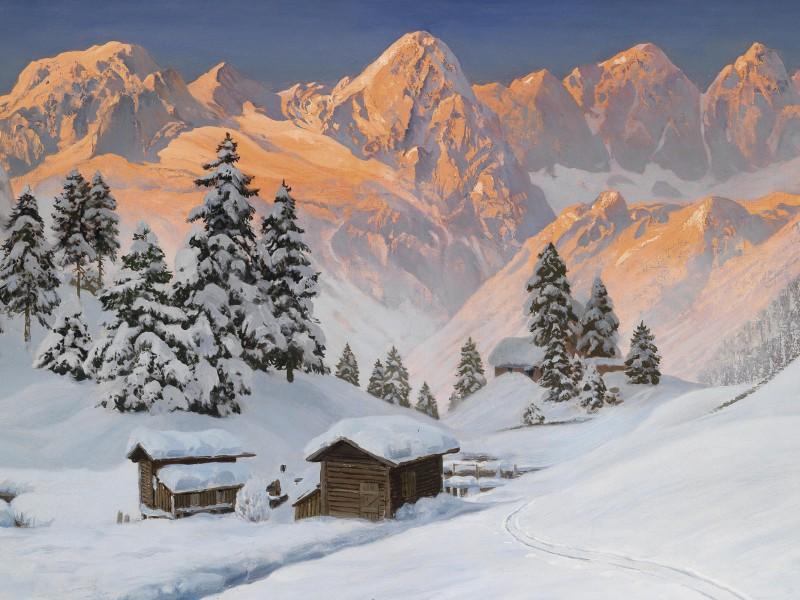 Пазл Собирать пазлы онлайн - Рассвет в Альпах