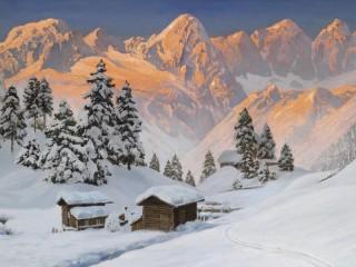 Собирать пазл Рассвет в Альпах онлайн